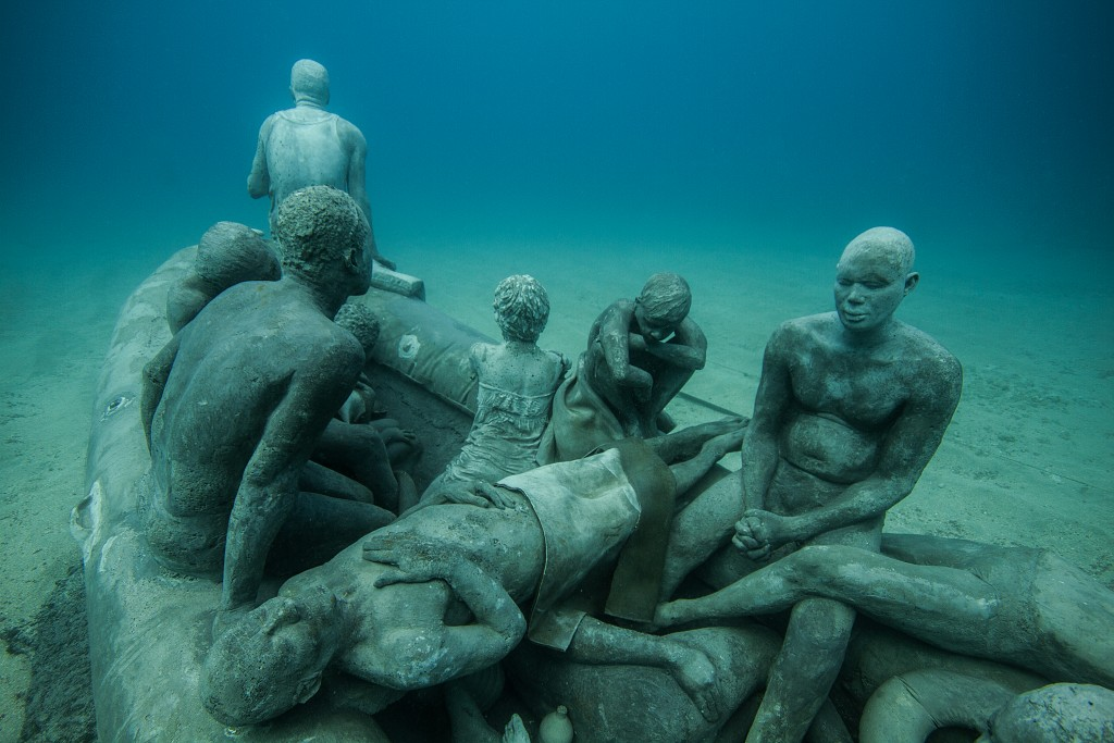 """The Raft of Lampedusa,"" a piece Taylor based on Géricault's ""The Raft of the Medusa.""  Photo by Jason deCaires Taylor"