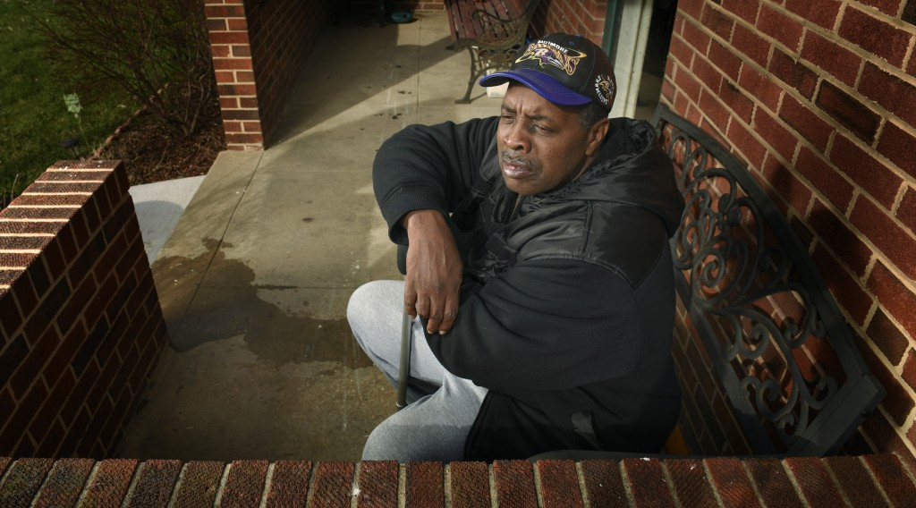 BALTIMORE, MD -- 1/15/16 --   Robert Peace, outside the home of his brother in Northeast Baltimore on Friday, January 15, 2016.   Photo by Doug Kapustin