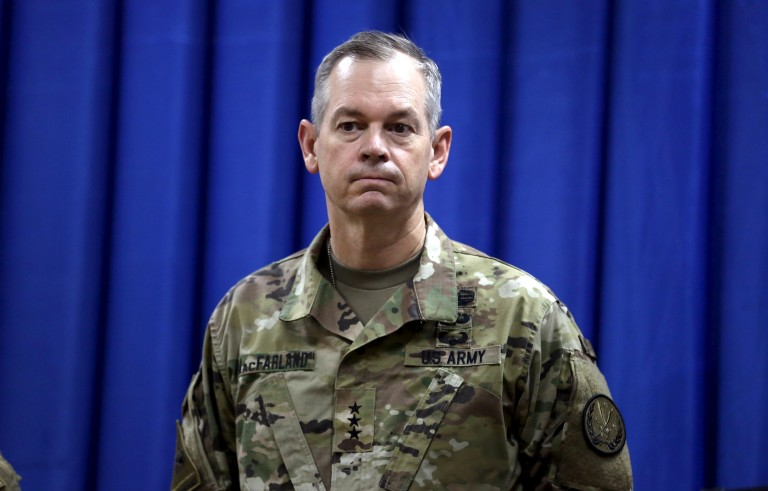 Lt. Gen. Sean MacFarland, the new commander general of the U.S.-led coalition in Iraq, attends a news conference at the U.S. Embassy in the heavily fortified Green Zone in Baghdad, Iraq in October 2015. Photo by Khalid Mohammed/Reuters