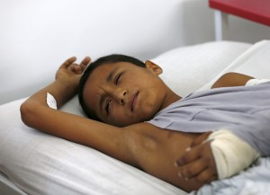 A wounded Afghan boy, who survived a U.S. air strike on a Doctors Without Borders hospital in Kunduz, receives treatment at the Emergency Hospital in Kabul October 8, 2015. The airstrike killed at least 42 patients and staff. Mohammad Ismail/Reuters