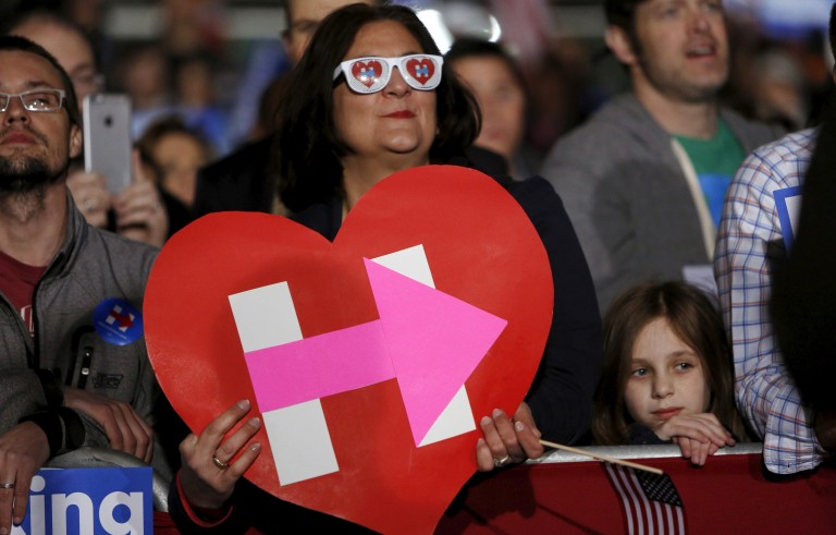File photo of Hillary Clinton supporters by Jonathan Ernst/Reuters