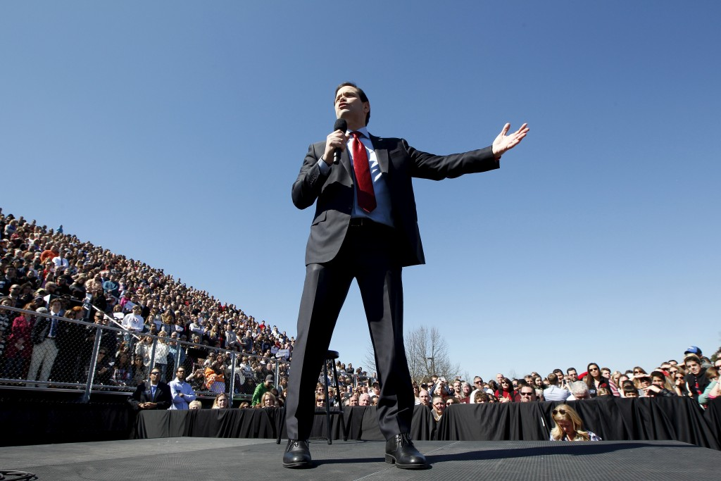 Republican presidential candidate Marco Rubio speaks to a large crowd gathered for a rally at  Mount Paran Christian school in Kennesaw, Georgia February 27, 2016. Photo by Tami Chappell/Reuters.
