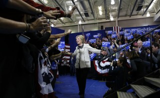 Democratic U.S. presidential candidate Hillary Clinton speaks to supporters as she arrives at her South Carolina primary night party in Columbia, South Carolina, February 27, 2016. REUTERS/Jonathan Ernst - RTS8BKT