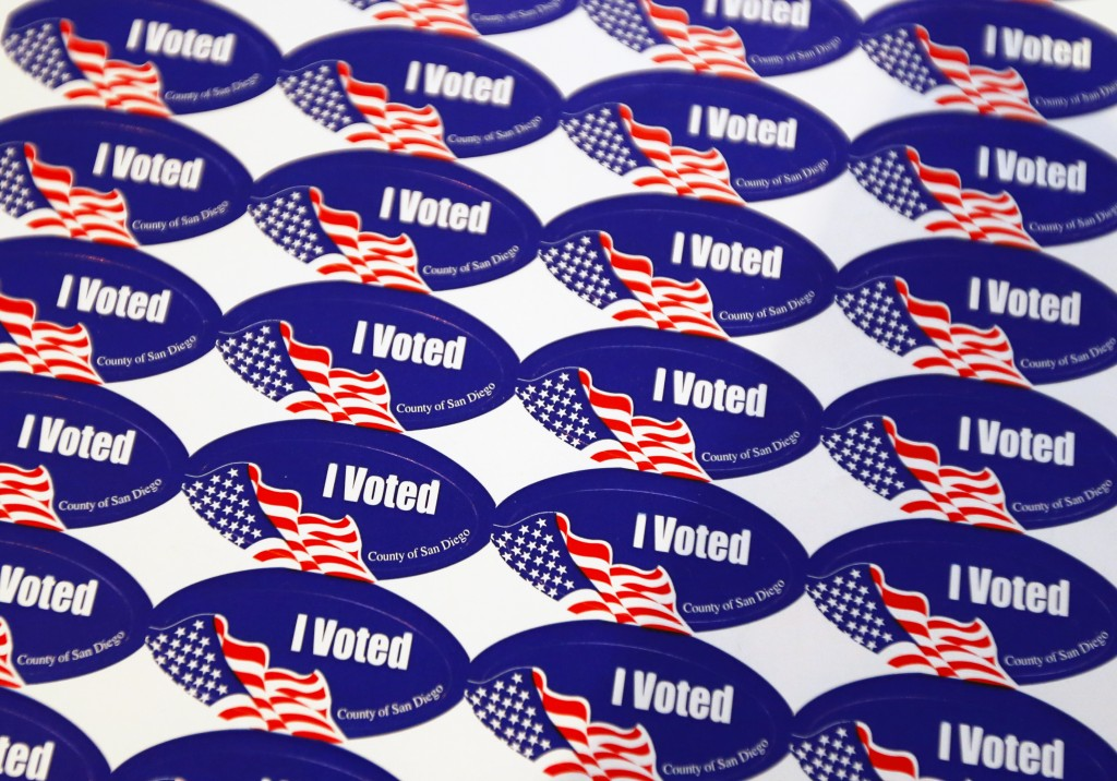 """""""I voted"""" stickers are shown at a polling station during a special election for mayor in San Diego, California"""