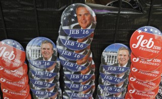Campaign buttons for Republican presidential candidate Jeb Bush are displayed in Miami, Florida. Many super PACs saw reduced hauls in the second half of the year, compared to the first half. A group backing Bush has spent tens of millions of dollars and seen little payoff for its investment. Photo by Carlo Allegri