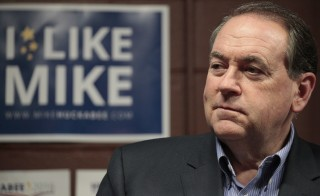 Republican presidential candidate Mike Huckabee speaks at a campaign rally in West Des Moines, Iowa on Jan. 31. Photo by Brian Frank/Reuters
