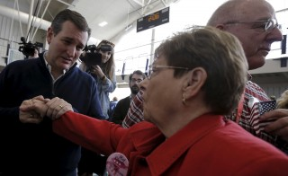 U.S. Republican presidential candidate Ted Cruz greets supporters at a campaign event in Jefferson, Iowa on February 1.  Photo by REUTERS/Jim Young