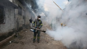 City health workers fumigate the Guadalupe community as part of preventive measures against the Zika virus and other mosquito-borne diseases in Santa Tecla, El Salvador February 3, 2016. REUTERS/Jose Cabezas - RTX25CEG