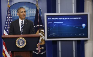President Barack Obama delivers a statement on the economy following the release of the January jobs report, in the Brady Press Briefing Room at the White House. Photo by Jonathan Ernst/Reuters