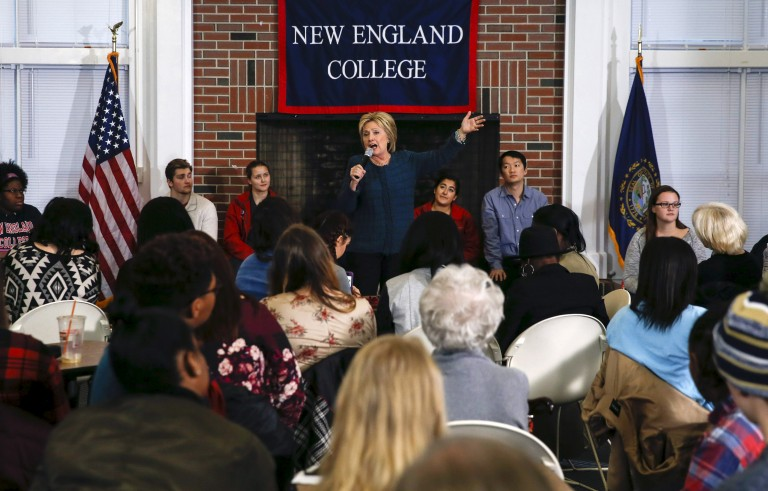 Democratic U.S. presidential candidate Hillary Clinton speaks at a student town hall during a campaign stop at the New England College in Henniker, New Hampshire February 6, 2016. Candidates on both sides of the political aisle are making their final round before Tuesday's primary. Adrees Latif/Reuters