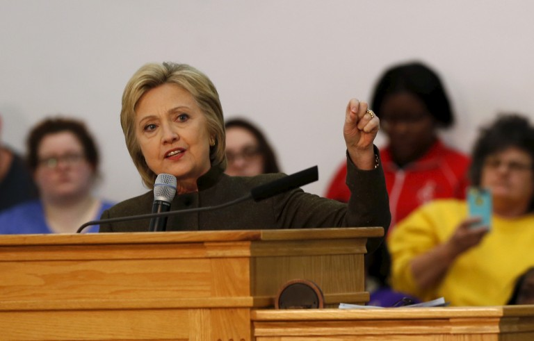 Democratic presidential candidate Hillary Clinton addresses the congregation about the Flint water crisis at the House of Prayer Missionary Baptist Church in Flint, Michigan February 7, 2016.   REUTERS/Rebecca Cook - RTX25VMC