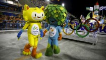 Olympic mascots, Vinicius and Tom, representing Brazilian wildlife, are seen at Rio de Janeiro's Sambadrome on Feb. 7, 2016. Photo by Pilar Olivares/Reuters