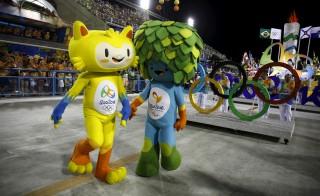 Olympic mascots, Vinicius and Tom, representing Brazilian wildlife, are seen at Rio de Janeiro's Sambadrome on Feb. 7, 2016. Photo by Pilar Olivares/Reuters