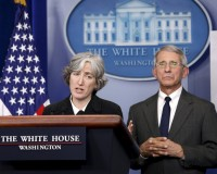 Anne Schuchat (L) of the U.S. Centers for Disease Control and Prevention and Anthony Fauci (R), director          of the National Institute for Allergy and Infectious Disease, speak with reporters during a press briefing about the Zika          virus at the White House in Washington February 8, 2016.  REUTERS/Kevin Lamarque  - RTX261DW