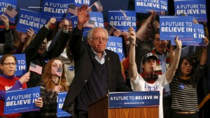 Democratic U.S. presidential candidate Bernie Sanders  waves after his rally at the Palace Theatre in Manchester, New Hampshire February 8, 2016.    REUTERS/Shannon Stapleton - RTX261QH