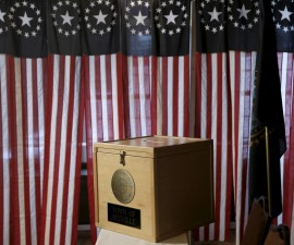 The ballot box sits on a table before voting begins for the U.S. presidential primary election inside Hale House at the Balsams Hotel in Dixville Notch, New Hampshire, February 8, 2016. Since 1960 residents of Dixville New Hampshire cast the first election day ballots of the U.S. presidential election moments after midnight.  REUTERS/Mike Segar - RTX262BX