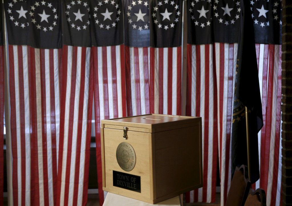 The ballot box sits on a table before voting begins for the U.S. presidential primary election inside Hale House at the Balsams Hotel in Dixville Notch, New Hampshire. Photo by Mike Segar/Reuters