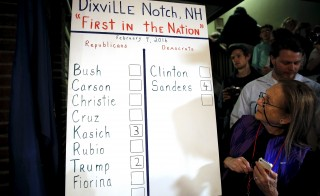 The results of the nine votes cast shortly after midnight in the U.S. primary election are displayed on a board at the Hale House at Balsams Hotel in Dixville Notch, New Hampshire.. Since 1960, residents of Dixville, New Hampshire, cast the first election day ballots of the U.S. presidential election moments after midnight. Photo by Mike Segar/Reuters