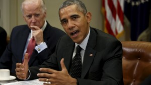 U.S. President Barack Obama speaks during a meeting with members of his national security team and cybersecurity advisors on new actions to enhance the nation's cybersecurity, including measures that are outlined in the President's FY2017 Budget proposal at the White House in Washington February 9, 2016. At left is Vice President Joe Biden. REUTERS/Kevin Lamarque  - RTX267DV