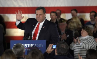 U.S. Republican presidential candidate and New Jersey Governor Chris Christie addresses the crowd at his primary election night party Nashua, New Hampshire, February 9, 2016. Photo by Gretchen Ertl/Reuters
