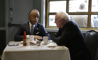 Democratic U.S. presidential candidate Bernie Sanders meets with the Rev. Al Sharpton at Sylvia's Restaurant in Harlem the day after Sander's decisive win in New Hampshire. Photo by Brendan McDermid/Reuters