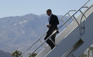 President Barack Obama arrives in Palm Springs, California on Feb. 12, 2016. Obama is hosting leaders of the 10-nation Association of Southeast Asian Nations (ASEAN) on Monday and Tuesday at the Sunnylands in Rancho Mirage. Photo by Kevin Lamarque/Reuters
