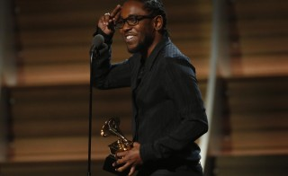"""Kendrick Lamar accepts the award for Best Rap Album for """"To Pimp A Butterfly"""" at the 58th Grammy Awards in Los Angeles, California February 15, 2016.   REUTERS/Mario Anzuoni (TPX IMAGES OF THE DAY)   - RTX273DU"""