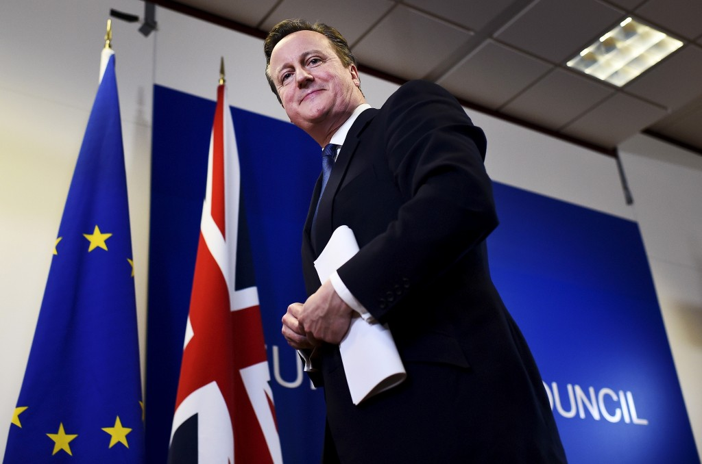 """British Prime Minister David Cameron smiles as he leaves a European Union leaders summit in Brussels, Belgium, February 19, 2016. Cameron said on Friday he would campaign with all his """"heart and soul"""" for Britain to stay in the European Union after he won a deal about the so-called Brexit, in Brussels which offered his country """"special status"""". REUTERS/Dylan Martinez - RTX27RP6 Related words: Britain, Cameron, Prime Minister, European Union, Brexit"""