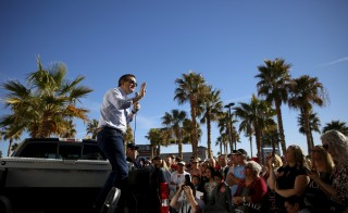 Republican presidential candidate Ted Cruz speaks at a campaign rally in Pahrump, Nevada. Photo by Jim Young/Reuters