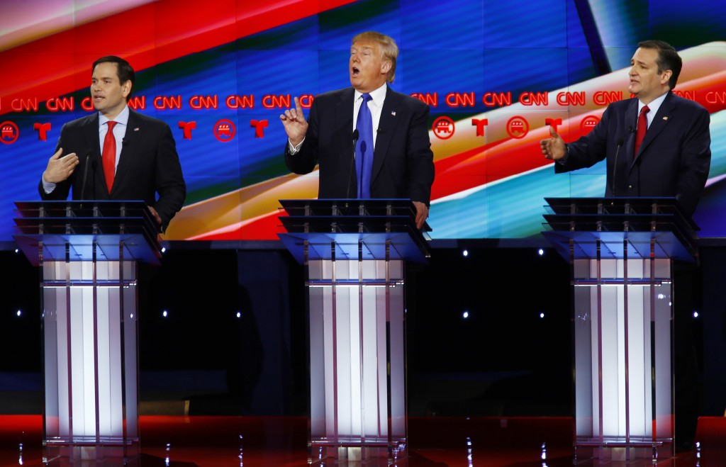 Republican presidential candidates (L-R) Sen. Marco Rubio, Donald Trump and Sen. Ted Cruz speak at the debate sponsored by CNN for the 2016 Republican U.S. presidential candidates in Houston, Texas. Photo by Mike Stone/Reuters