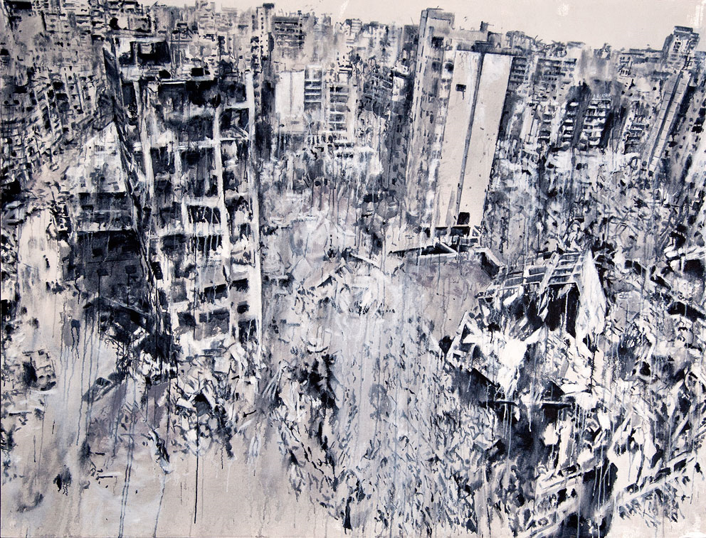 "From ""Storeys"" by Tammam Azzam, 180 x 235 cm, acrylic on canvas, 2015. Image courtesy of Tammam Azzam"