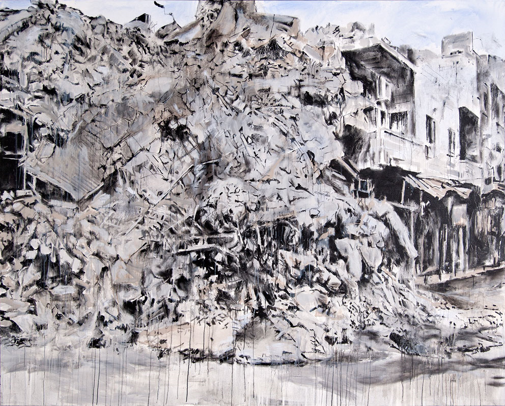 "From ""Storeys"" by Tammam Azzam, 200 x 250 cm, acrylic on canvas, 2015. Image courtesy of Tammam Azzam"