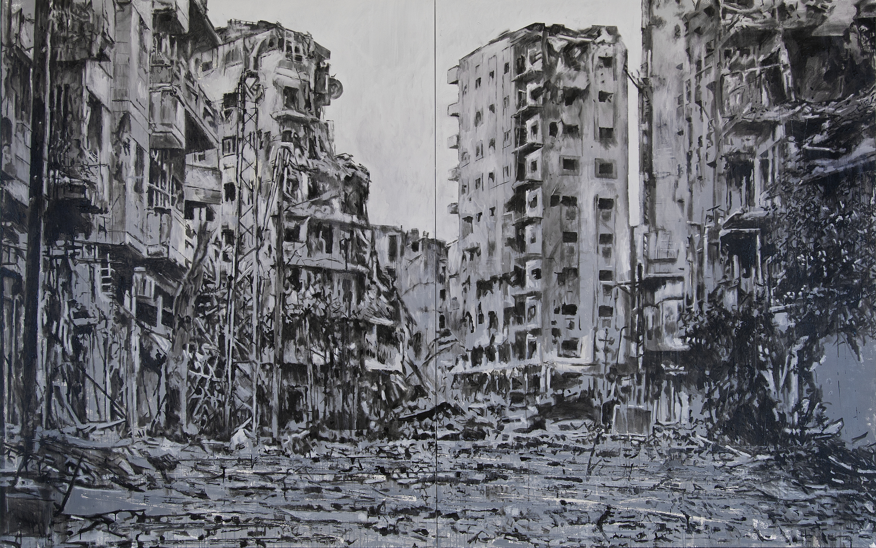 "From ""Storeys"" by Tammam Azzam, 250 x 200 cm, acrylic on canvas, 2015. Image courtesy of Tammam Azzam"