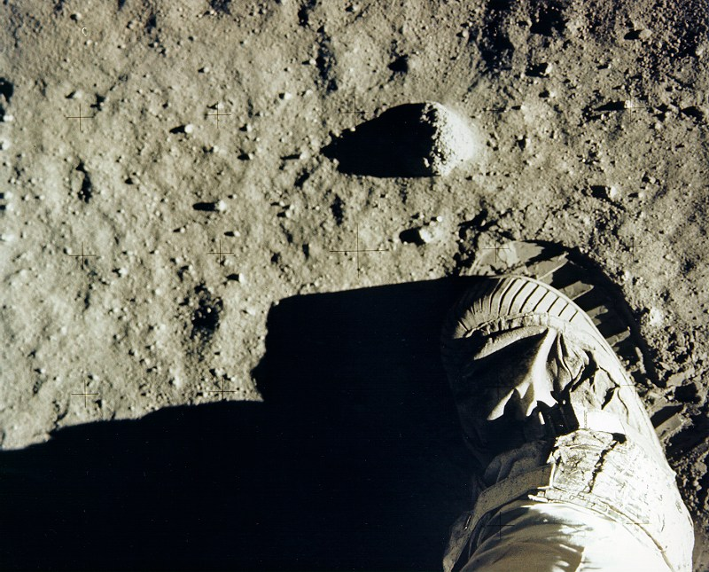 Buzz Aldrin's boot and footprint in lunar soil. Image courtesy of NASA History Office and the NASA JSC Media Services Center