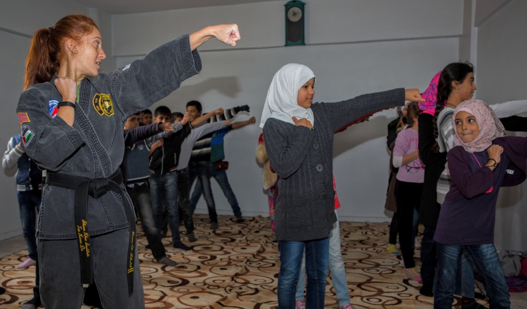 Syrian refugee students taking a self-defense class during a four-day education program in Reyhanli, Turkey. Photo courtesy of Karam Foundation