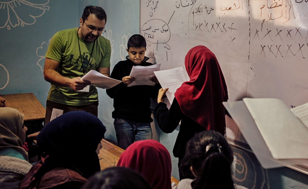 Syrian students acting out Antigone at a refugee school in Reyhanli, Turkey. Photo courtesy of Karam Foundation