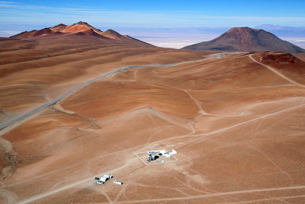 Aerial view of the APEX telescope on the Chajnantor Plateau in Chile's Atacama region. Photo by Clémentine Bacri and Adrien Normier/ORA Wings for Science/ESO