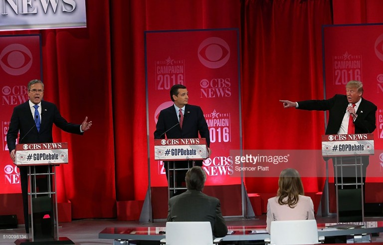 Republican U.S. presidential candidates Senator Marco Rubio (R), businessman Donald Trump (C) and former Governor Jeb Bush (L) take the stage before the start of the Republican U.S. presidential candidates debate sponsored by CBS News and the Republican National Committee in Greenville, South Carolina February 13, 2016. Spencer Platt/Getty Images