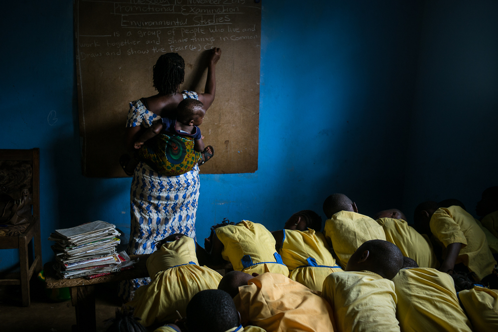 Edna Boyle teaches at the We Yone school in George Brook, Freetown, Sierra Leone. Photo by Sara May