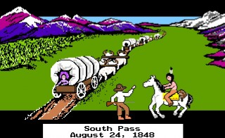 "A still from an early version of ""The Oregon Trail"" computer game that taught school children how to navigate the pioneer life in the mid-1880s in America. Image courtesy of Internet Archive"