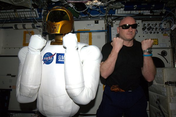 """Which one's the droid? #StarWars meet @AstroRobonaut,"" NASA astronaut Scott Kelly wrote on Dec. 18, 2015. Photo by Scott Kelly/NASA/via Twitter"
