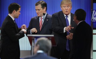 Republican presidential candidates (Lto R) Sen. Marco Rubio (R-FL), Sen. Ted Cruz (R-TX),  Donald Trump and Ohio Gov. John Kasich greet each following a debate sponsored by Fox News at the Fox theatre on March 3, 2016 in Detroit, Michigan. The GOP establishment continues pushing to get Trump out of the race.  Chip Somodevilla/Getty Images)
