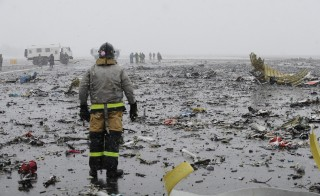 A view of the crash site is seen after FlyDubai Boeing 737-800 crashed down on the runway at the Rostov on Don airport in Russia on March 19, 2016. A Dubai passenger plane crashed in the Russian southern city of Rostov-on-Don, killing 62 people on board, the Russian Ministry of Emergency Situations said. Fedor Larin /Anadolu Agency/Getty Images