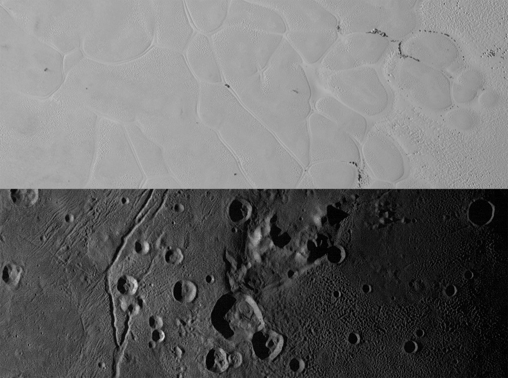 """Sputnik Planum on Pluto (top) and the informally named Vulcan Planum on Charon (bottom). The Sputnik Planum strip measures 228 miles (367 kilometers) long, and the Vulcan Planum strip measures 194 miles (312 kilometers) long.  The bright, nitrogen-ice plains are defined by a network of crisscrossing troughs. The Vulcan Planum view in the bottom panel includes the """"moated mountain"""" Clarke Mons just above the center of the image. The water ice-rich plains display a range of surface textures, from smooth and grooved at left, to pitted and hummocky at right. Photo and caption by NASA/JHUAPL/SwRI"""
