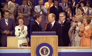 U.S. President Gerald Ford, as the Republican nominee, shakes hands with nomination foe Ronald Reagan on the closing night of the Republican National Convention in Kansas City, Missouri, August 19, 1976. The Republican National Convention of 1976, where Ronald Reagan lost the battle for the presidential nomination to Gerald Ford, was the last contested convention in the country?s history. REUTERS/William Fitz-Patrick/Courtesy Gerald R. Ford Library/Handout - RTR2YPHK