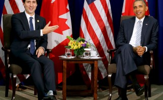 Canada's Prime Minister Justin Trudeau and U.S. President Barack Obama  at their bilateral meeting alongside the APEC Summit in Manila, Philippines, November 19, 2015. Photo by Jonathan Ernst/Reuters