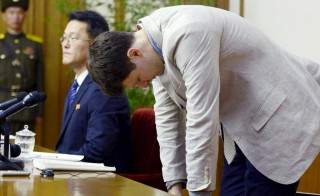 "Otto Frederick Warmbier, a University of Virginia student who has been detained in North Korea since early January 2016, bows during a news conference in Pyongyang, North Korea, in this photo released by Kyodo on Feb. 29, 2016. Warmbier was detained for allegedly trying to steal a propaganda banner from his Pyongyang hotel and has confessed to ""severe crimes"" against the state, the North's official media said on Monday. Photo by Kyodo via Reuters"
