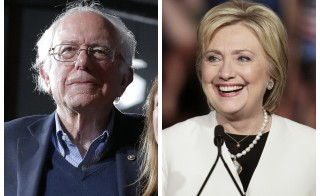 A combination photo shows Democratic U.S. presidential candidates Bernie Sanders (L) and Hillary Clinton (R) at their respective Super Tuesday primaries rally in Burlington, Vermont and in Miami, Florida. Photos by Brian Snyder, Javier Galeano/Reuters