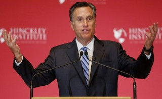 Former Republican U.S. presidential nominee Mitt Romney criticizes current Republican presidential candidate Donald Trump during a speech at the Hinckley Institute of Politics in Salt Lake City, Utah. Photo by Jim Urquhart/Reuters