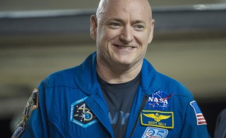 Expedition 46 Commander Scott Kelly of NASA is seen after returning to Ellington Field in Houston, Texas. The return of NASA astronaut Scott Kelly from the longest U.S. space mission on record will kick off a wave of medical tests and experiments intended to pave the way for extended human missions to Mars. Photo by Joel Kowsky/NASA/Handout via Reuters